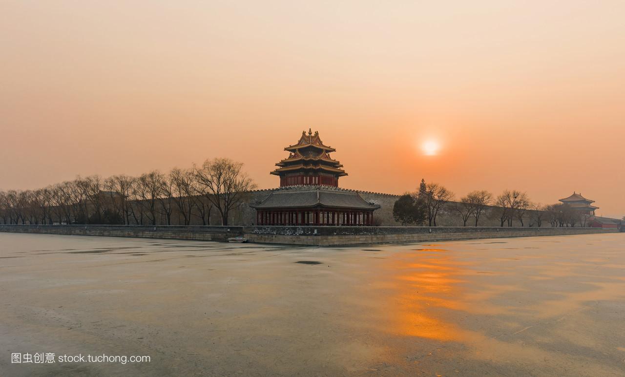 故宫,北京,文化遗产,角楼,帝王,传统文化,建筑,宫殿,冬季,护城河图片