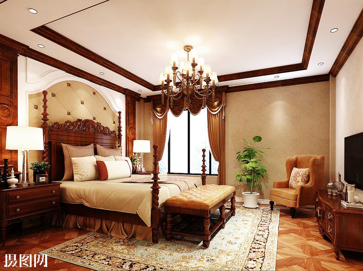 卧室效果图,泰式卧室,卧室,室内效果图,3d效果图,泰式,东南亚风格,深图片