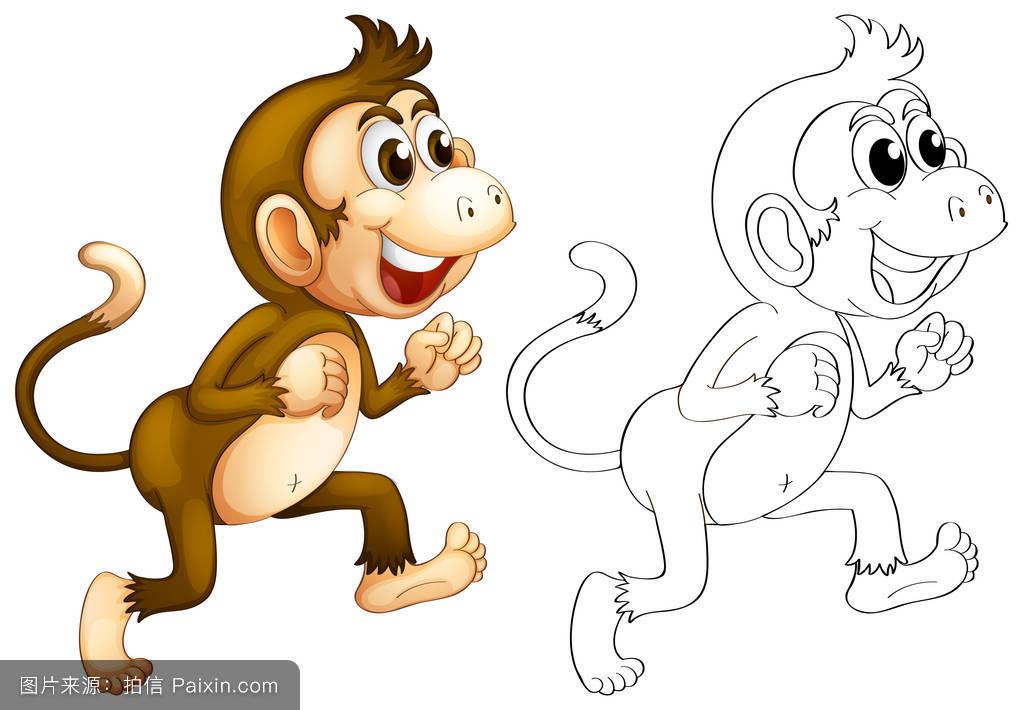 画猴子用什么颜色_起草,哺乳动物,纸,性格,裁剪,对象,自然,猿,猴子,图解的,绘画,分离