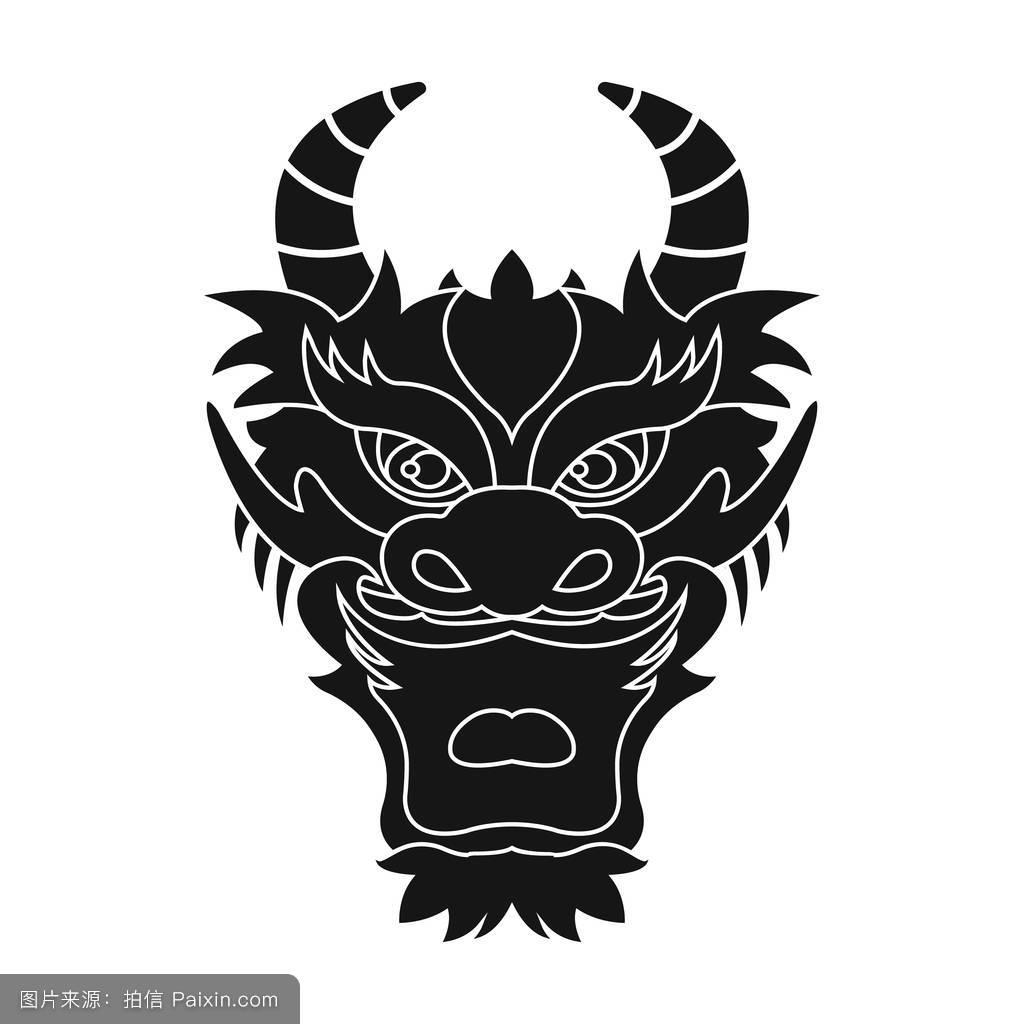 部落,模式,标志,符号,传统的,龙,矢量,分离,轮廓,图腾,黑色,古代的图片