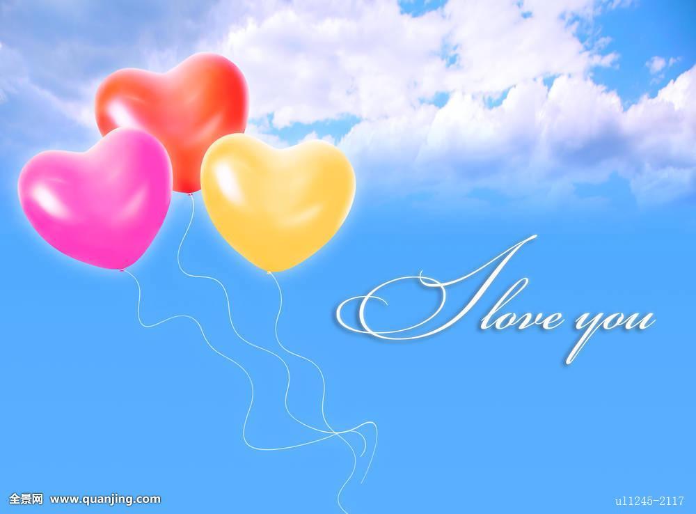 三个,充气,心形,气球,云,天空,喜爱,文字,抽象拼贴画图片