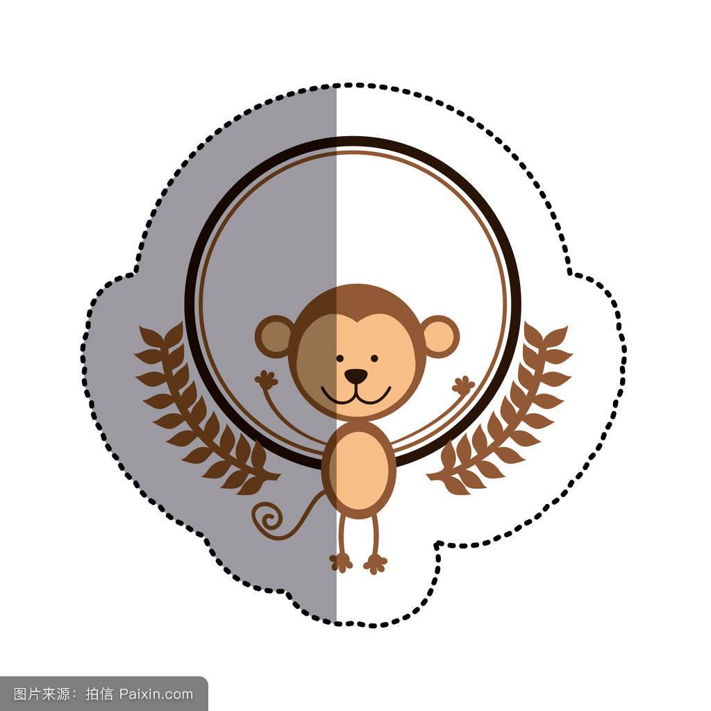 画猴子用什么颜色_猴子和橄榄枝和中阴影颜色贴纸圈