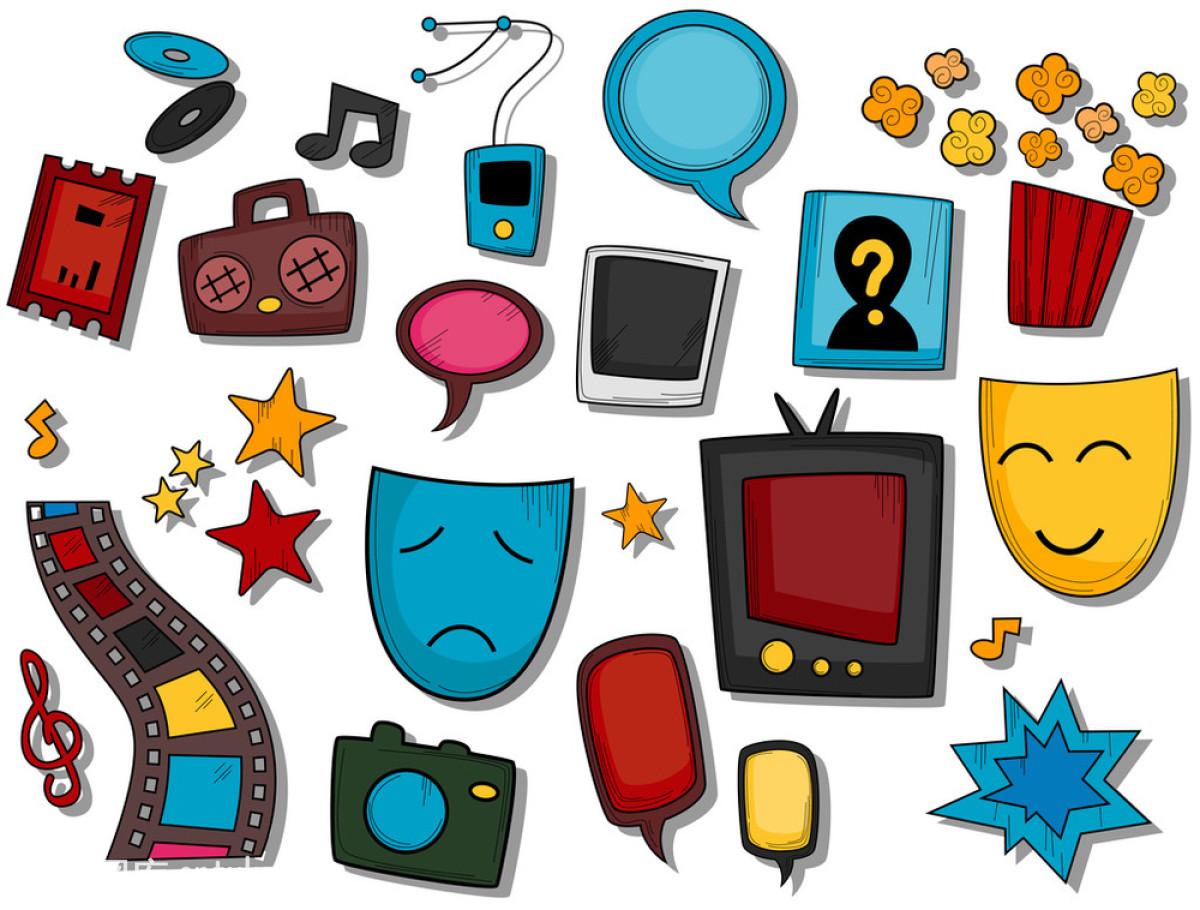 图标无线电接收装置戏剧表演小路星星幸福衣夹艺术影片娱乐
