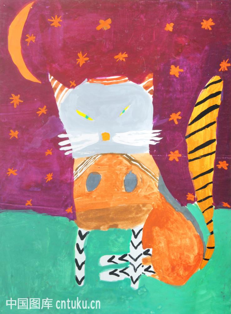 美术绘画,水彩画颜料,童年,星星,颜料,颜色,艺术,月亮,微笑,学龄儿童图片
