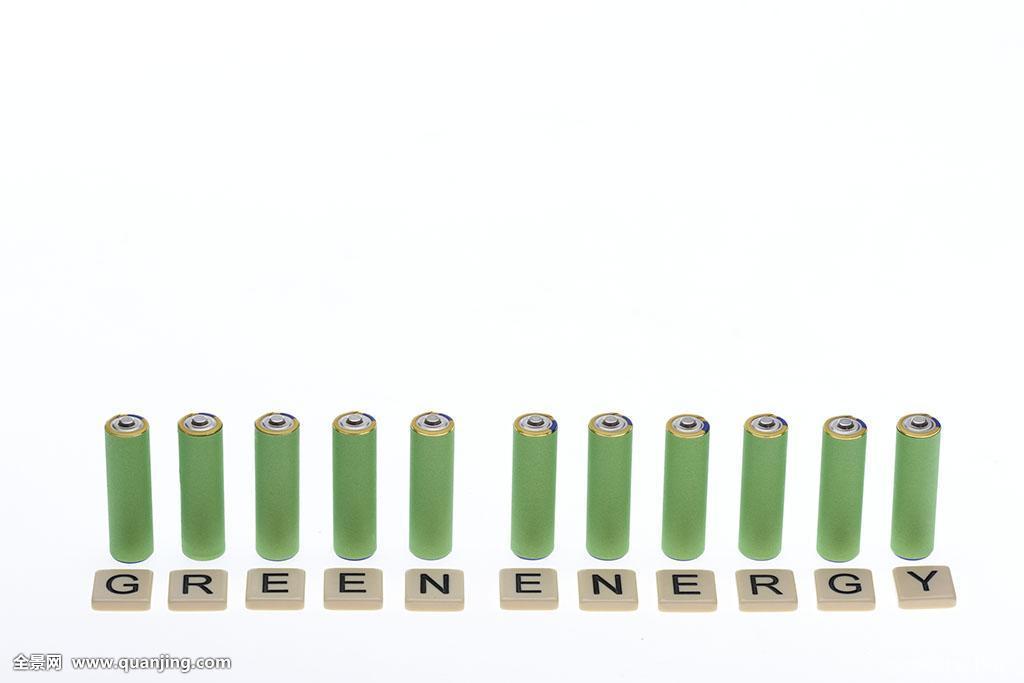 英文_绿色,排列,白色背景,文字,电池,能量,英文,电,概念,环境