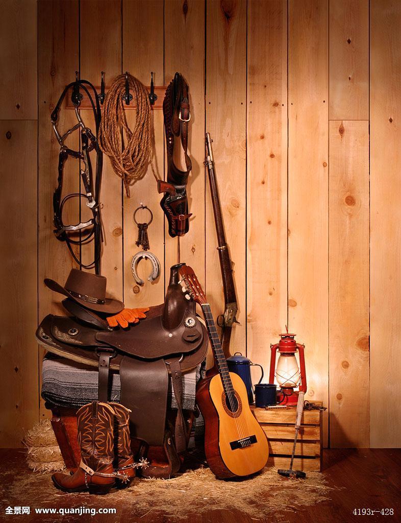 美洲,北美,老式,谷仓,缰绳,咖啡壶,留白,牛仔靴,牛仔帽,板条箱,地面图片