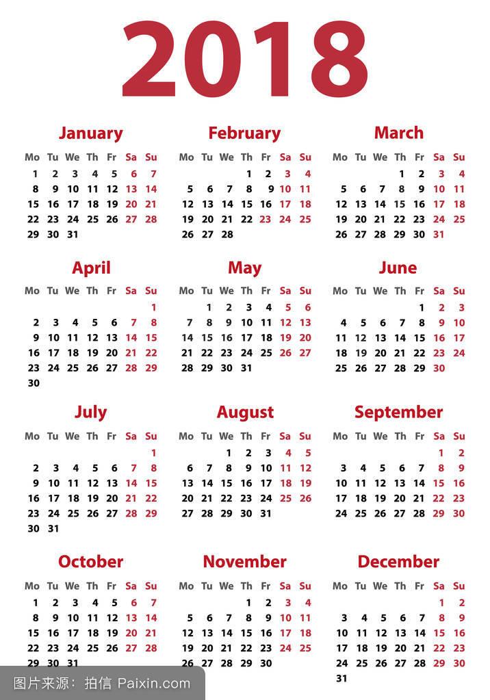 日历为2018星期一开始,矢量日历设计2018年图片