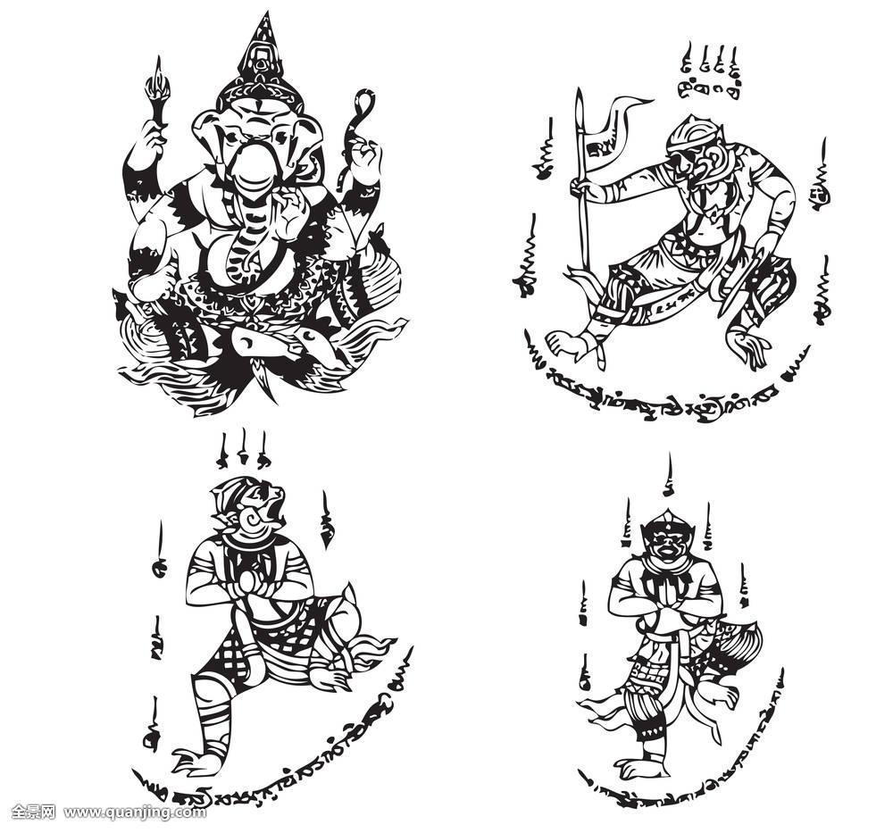 抽象,天使,古老,动物,艺术,亚洲,亚洲人,背景,黑色,佛教,收集,创意图片