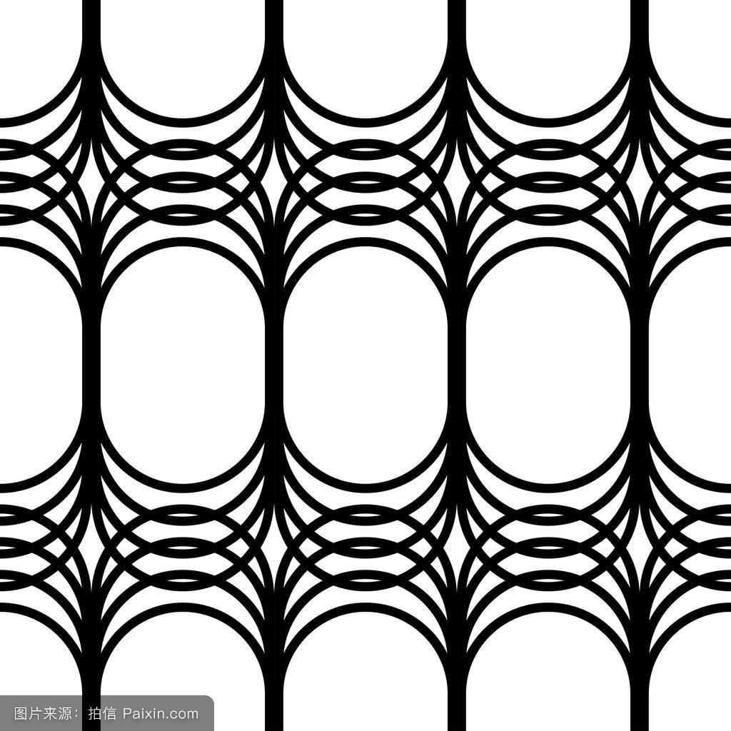 无缝黑白矢量几何图形.矢量插画.图片