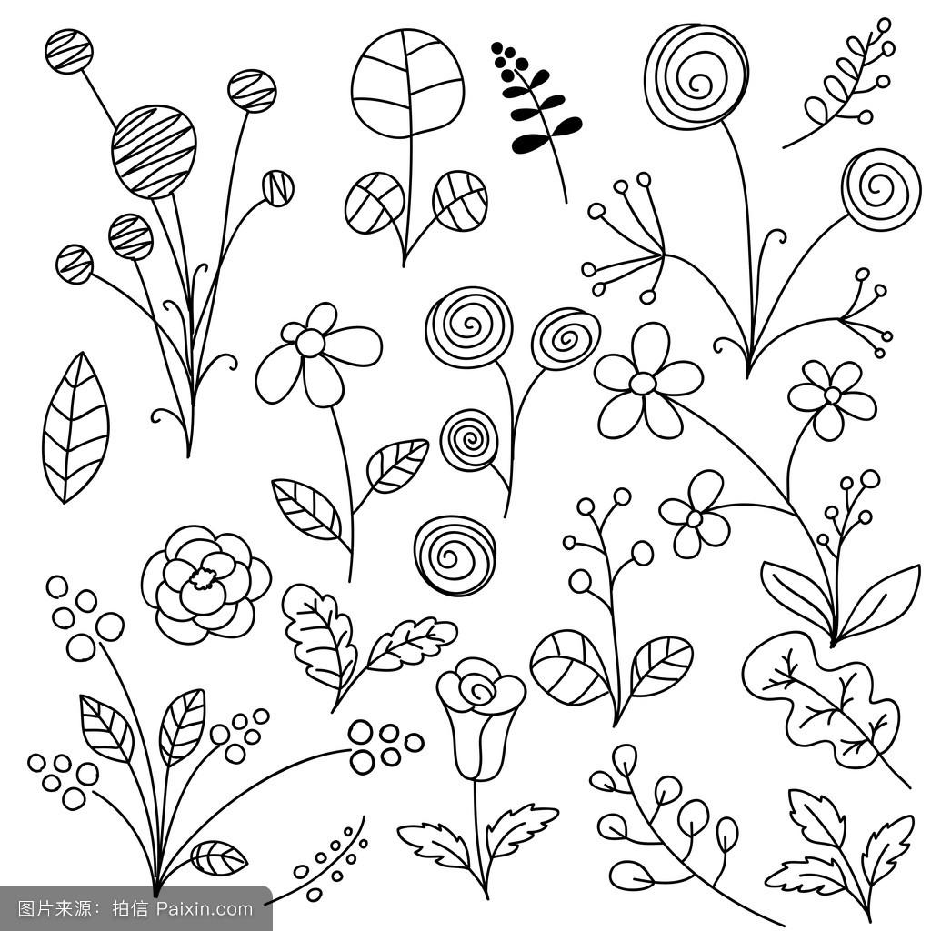 卡通,纸,有机的,垃圾,叶,自然,收集,装饰性的,花,绘画,元素,春天,茎图片
