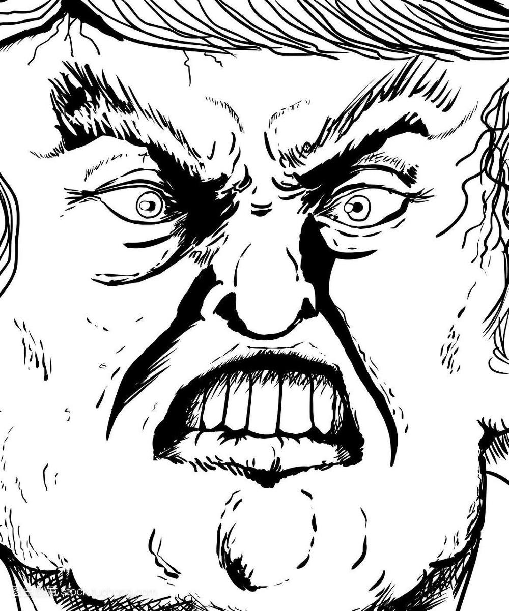 大,巨大,极端的,强大,气宇轩昂,脸,插画,怒气,骚扰,轮廓,表情,发疯