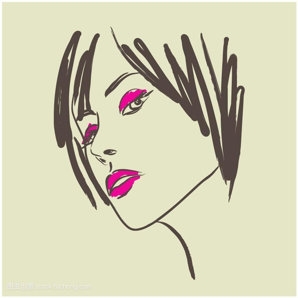 轮廓,笔,保养,女人,孤立,照料,刷子,年青人,小孩,设计,美发,背景,艺术图片