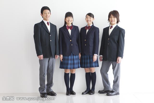 女孩,少女,少男,青少年,四个人,群体,朋友,同学,友谊,全身,学生,高中图片