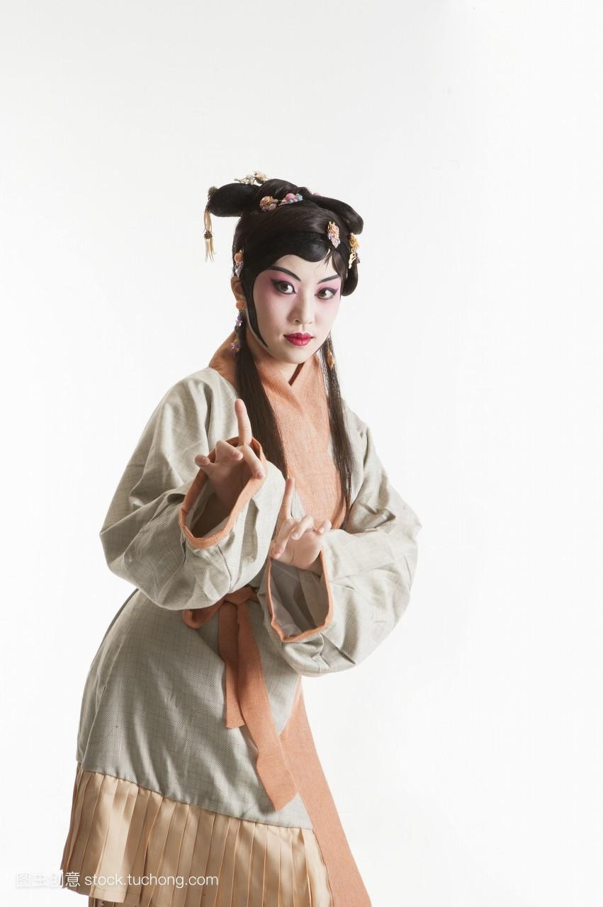 中国,一个人,亚洲,只有女人,女人,只有成人,戏服,脸谱,假发,古装,舞台图片