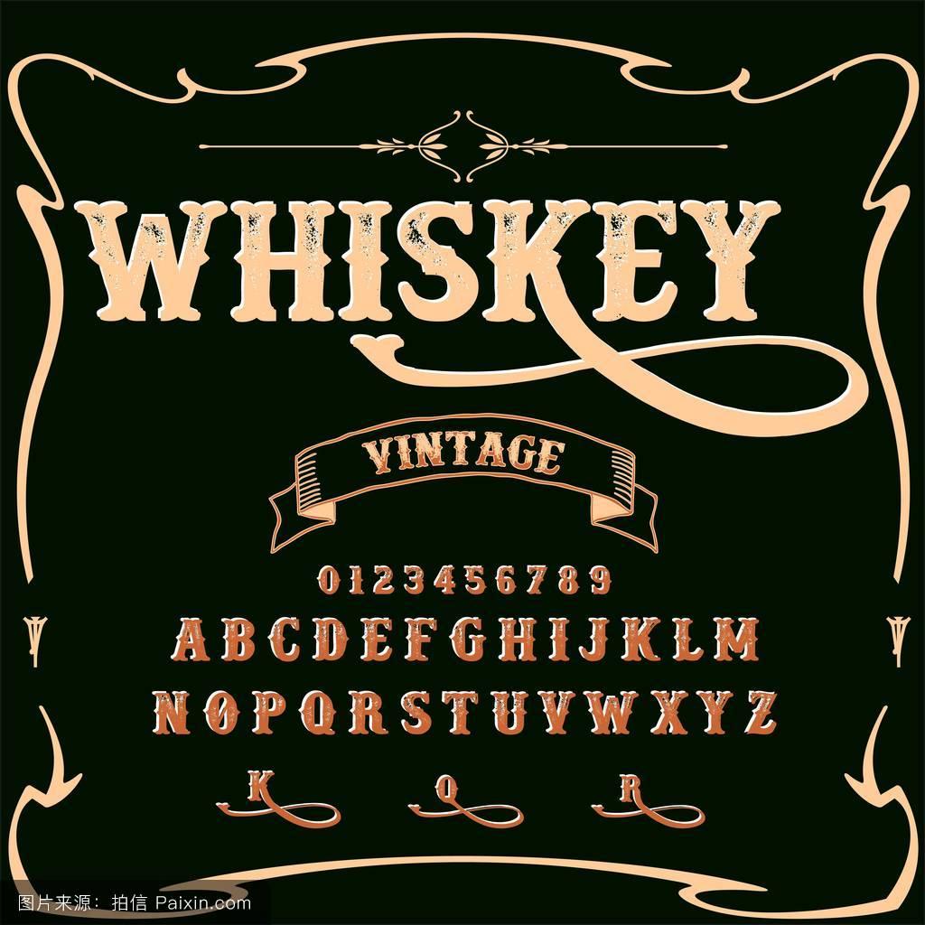 威士忌字体字体脚本老式字体-字体向量字体标签和任何类型的设计图片