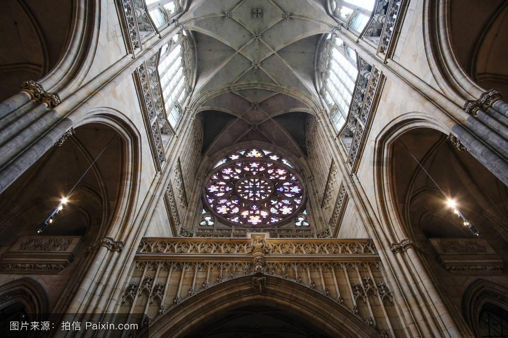 中世纪,城市的,国家,布拉格,信仰,教堂,宗教,大教堂,彩色玻璃,建筑学图片