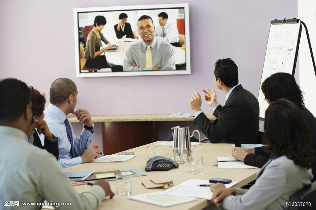 观看_多种族,商务人士,电视会议