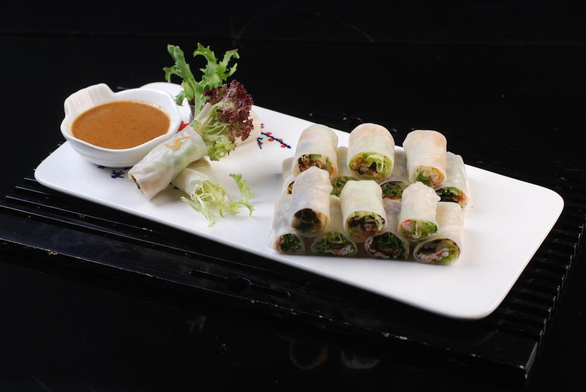 海鲜沙拉卷,海鲜蔬菜卷,海鲜素菜卷,蔬菜卷,素菜卷图片
