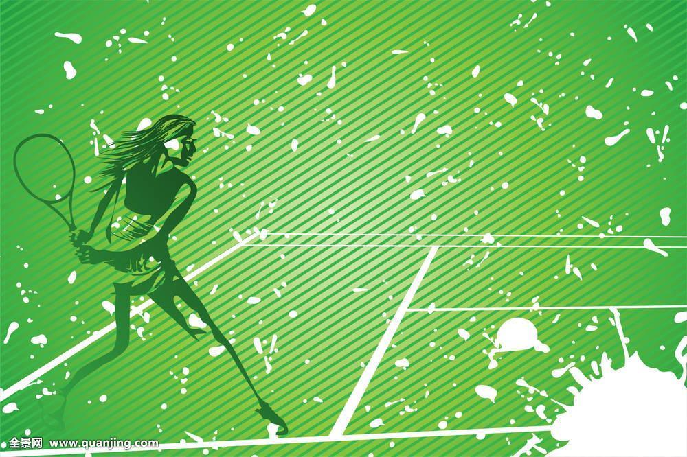 网球,插画图片