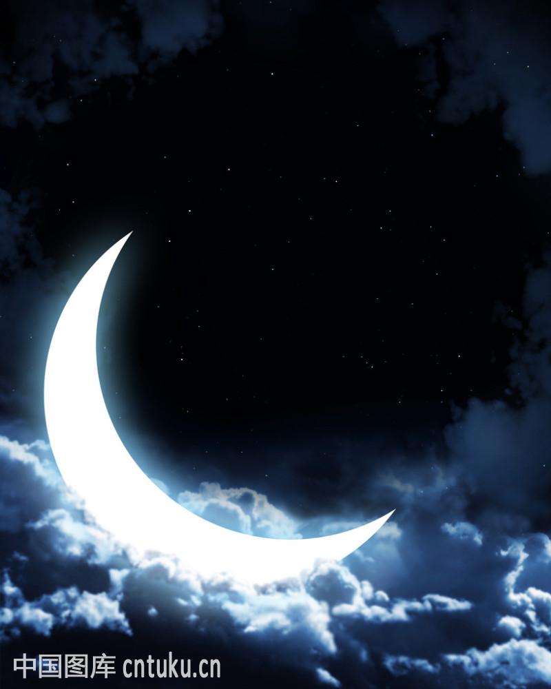 轻飘的,睡觉,天空,透明,仙女,想象,新月形,星星,夜晚,月光,月亮,云图片
