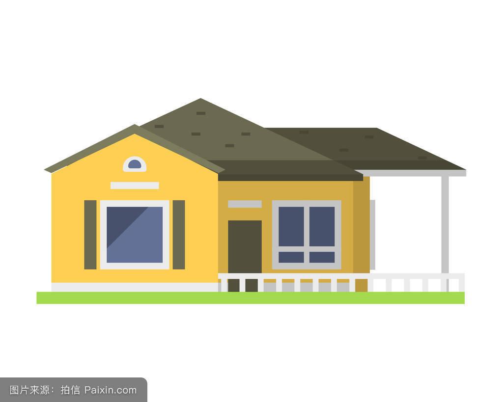 屋论+�yf�Xi�i�_可爱多彩的平式屋村符号房地产平房和住宅设计住宅彩色建筑矢量插图.