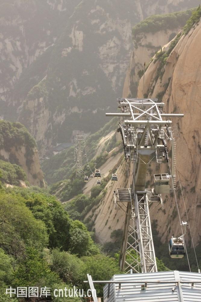 华山缆车图片