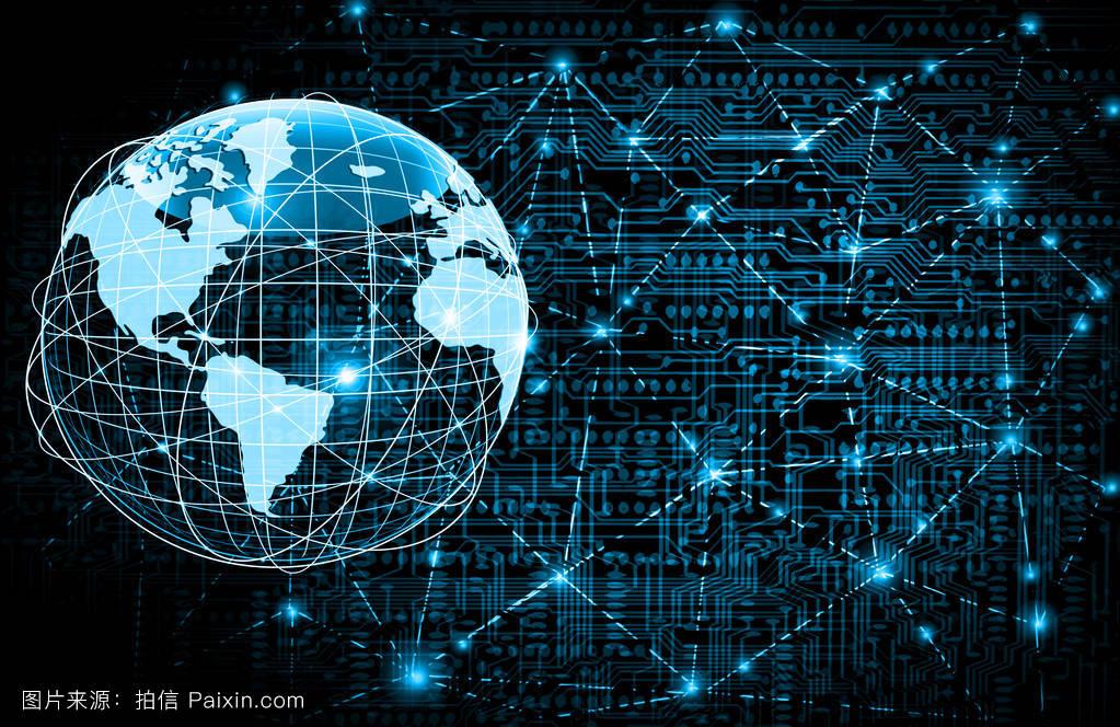 全球商业最佳互联网概念.技术背景下的全球发光线.图片