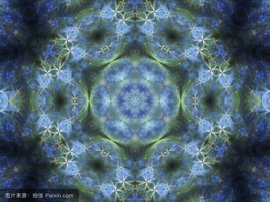 蓝花分形曼荼罗,创意平面设计数字艺术作品图片
