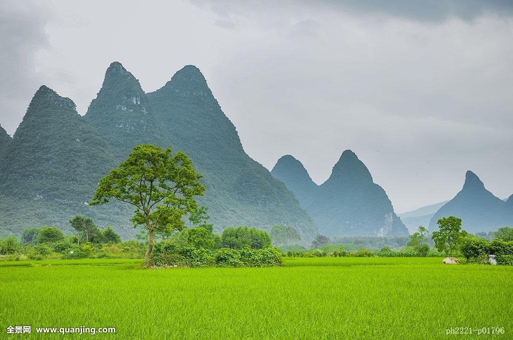 桂林喀斯特田园风光图片
