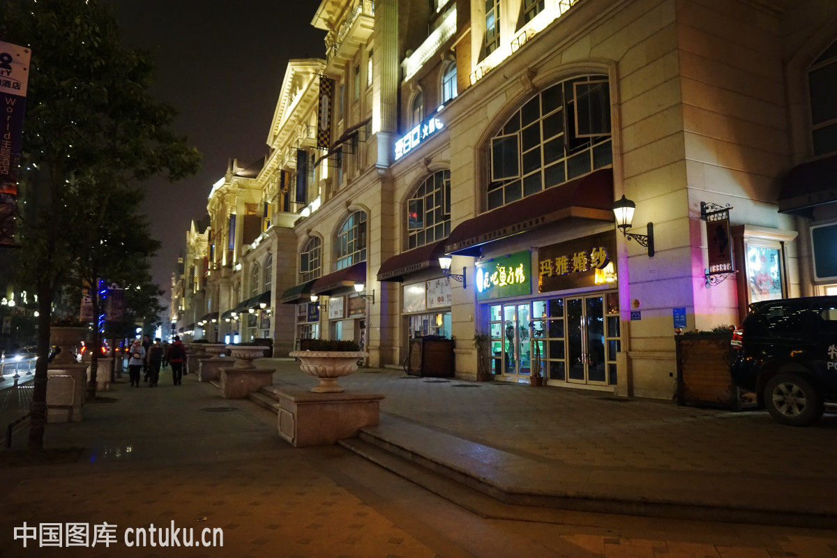屋子,夜色,步行街,商场,湖北,房子,欧式,光谷步行街,台东步行街,武汉图片