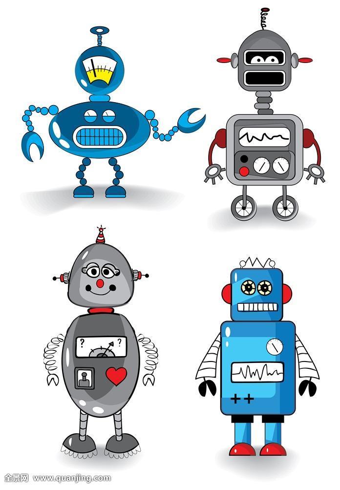 卡通机器人简笔画彩色