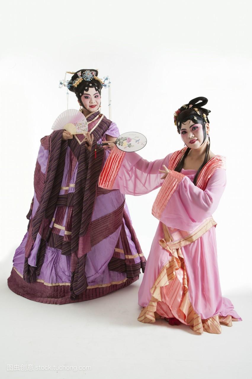 真人,只有成人,中国,影像,只有女人,女人,脸谱,头饰,舞台服,戏服,古装图片