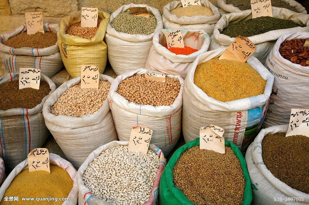 出售_不同,豆类,豆,出售,市场,土耳其浴室,街道,盐,约旦
