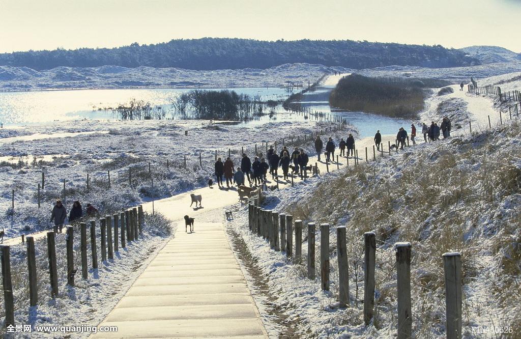 荷兰北部,荷兰,欧洲,人,冬天,35毫米图片