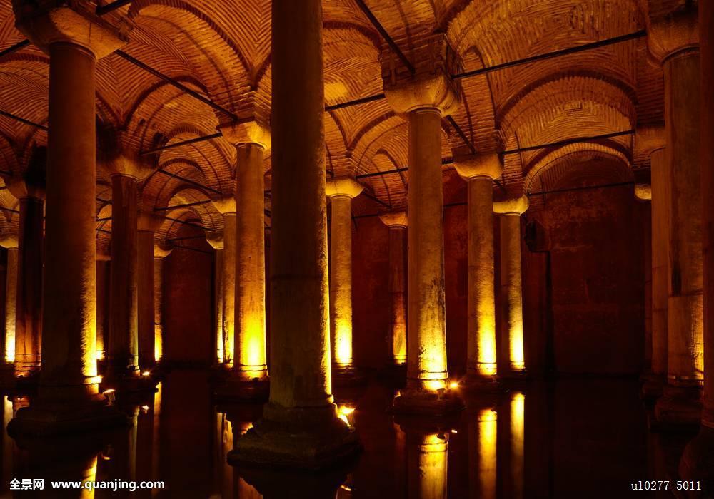 土耳其,蓄水池,伊斯坦布尔,大教堂,宫殿,地下,红色,古老,建筑,柱子图片