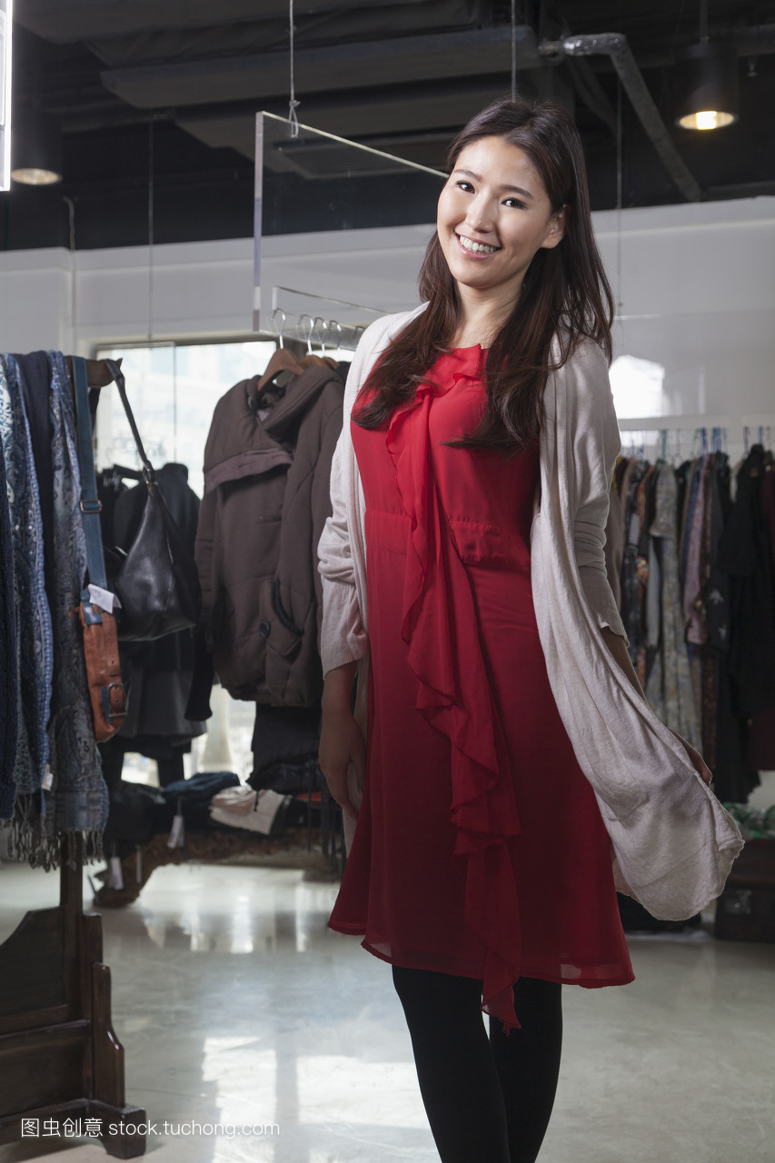 笑,精品店,豪华,红,选择,肖像,销售,购物狂,长发,衣架,零售,长头发图片