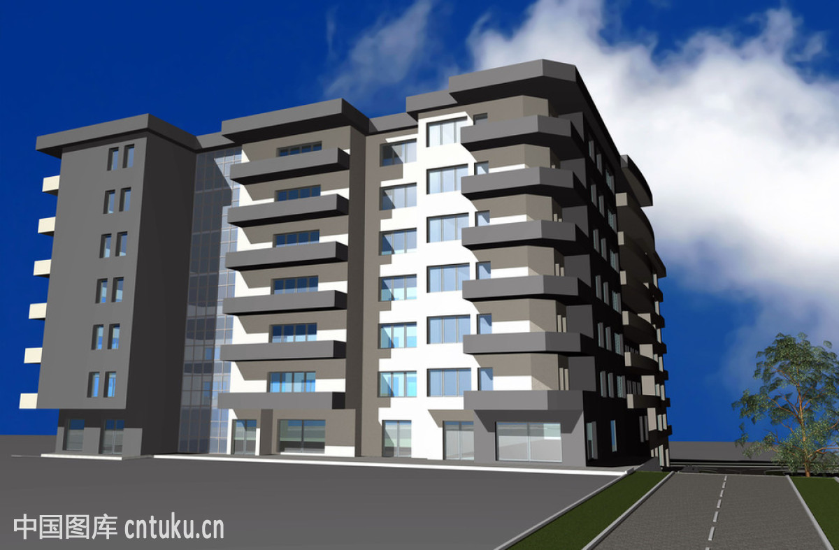 现代住宅建筑的三维渲染图片