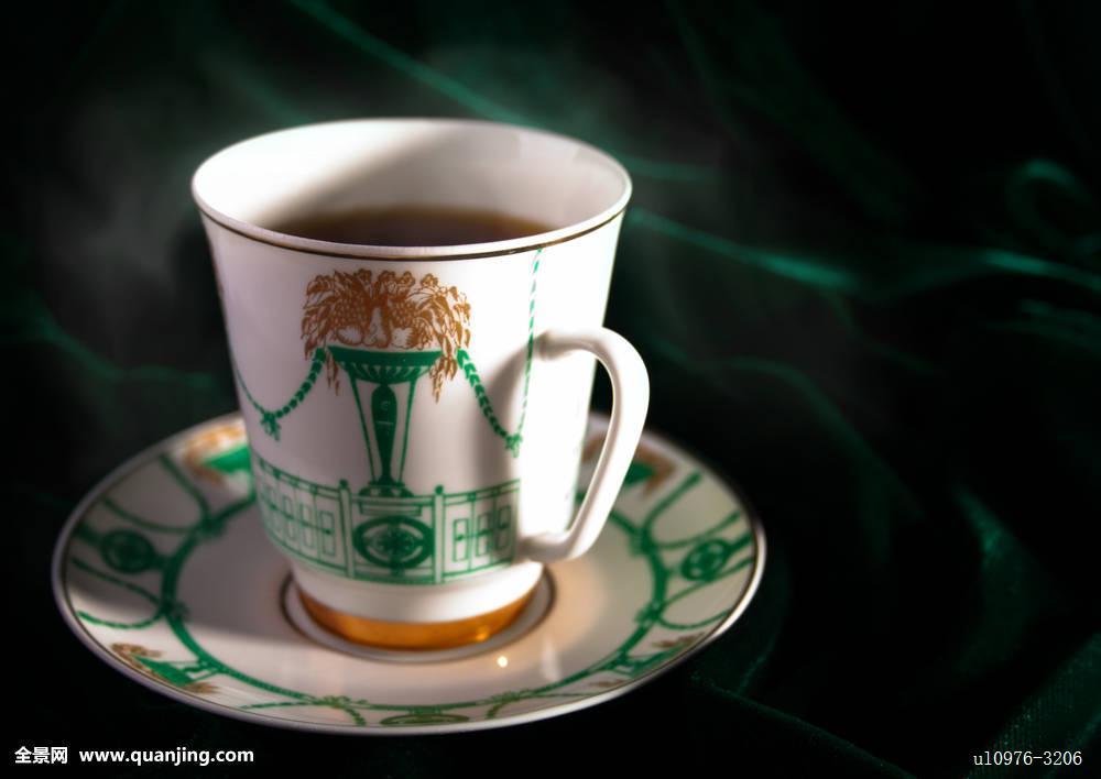 咖啡,食物,瓷器,杯子,蒸汽,背景,绿色,浓咖啡,咖啡因,饮料,留白,热图片