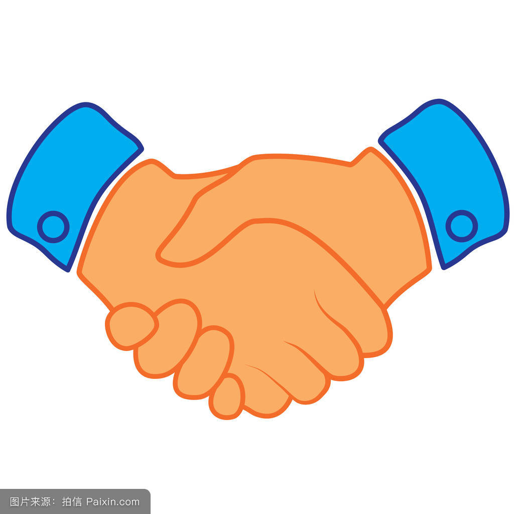 商务握手合同协议应用程序和网站的平面图标.eps 10矢量图图片