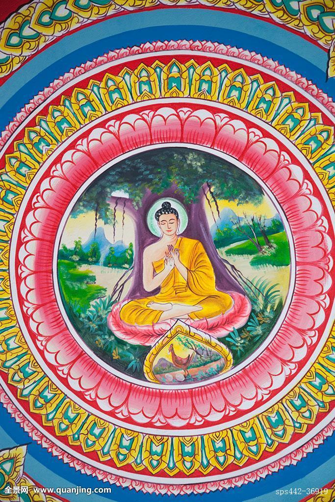 图案,庙宇,宗教,天花板,绘画,照片,亚洲,圆,竖图,壁画,佛,佛教,创意图片
