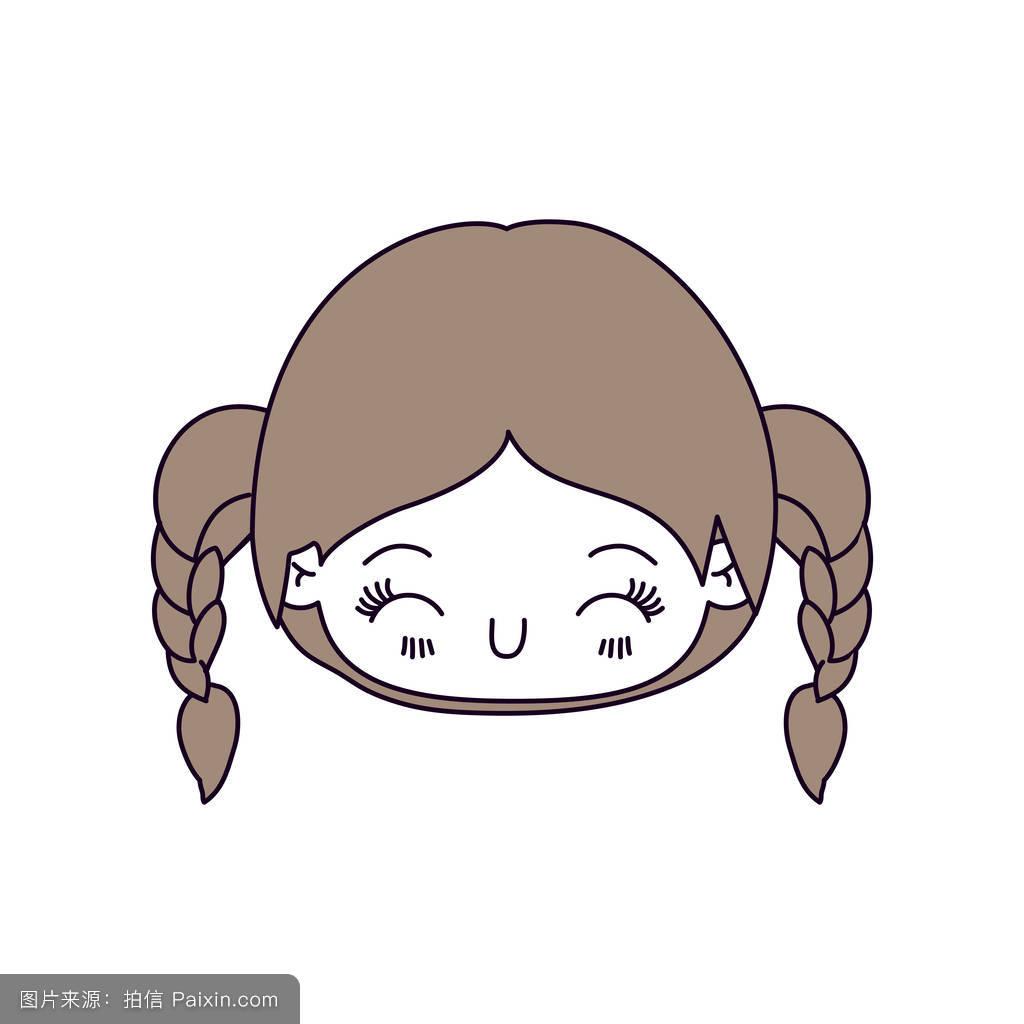 轮廓颜色部分和可爱的小女孩头辫头发和面部表情幸福闭着眼睛浅棕色的图片
