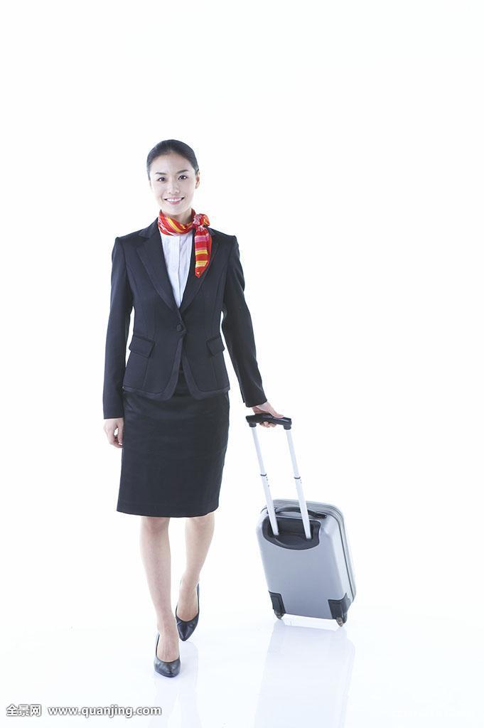 一个,走,白色背景,亚洲人,微笑,人,围巾,空乘人员,女性,手提箱,全身图片
