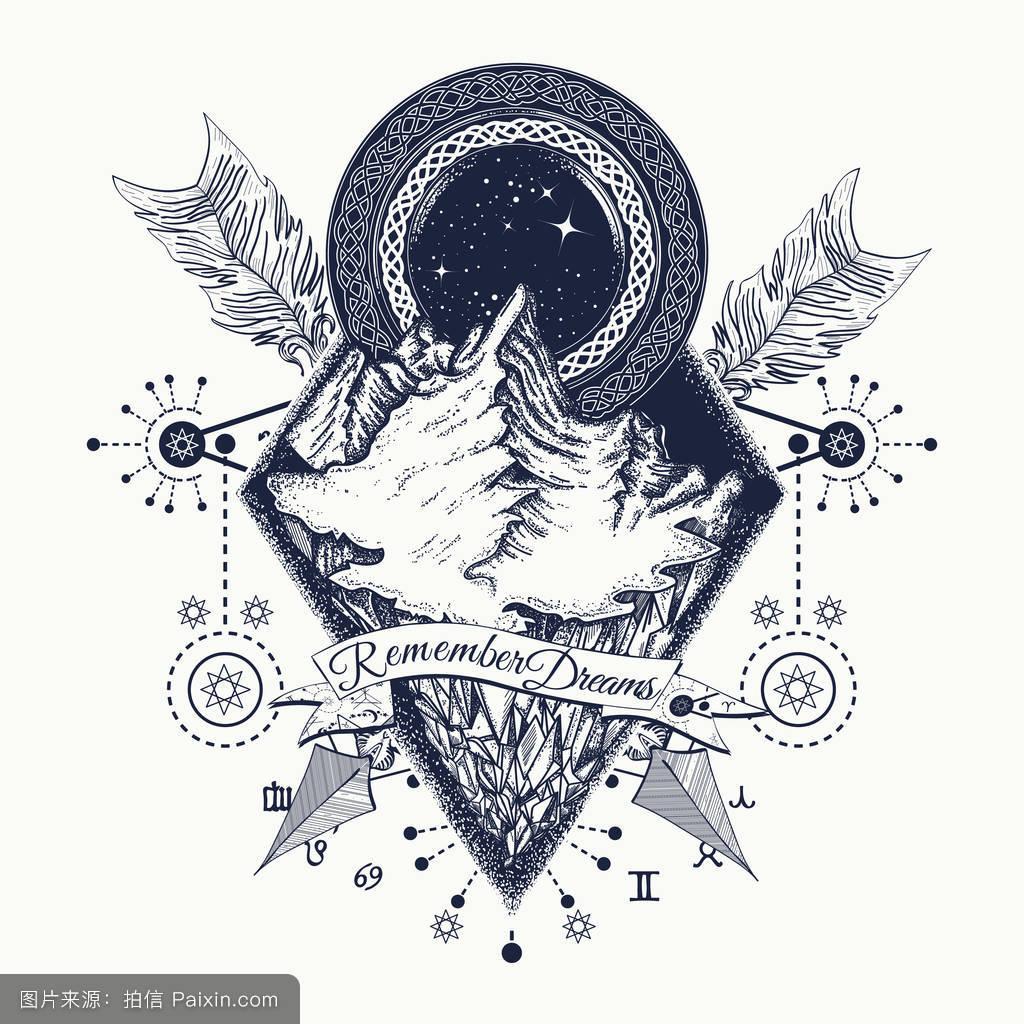 美国本土,自然,景观,符号,极端,dotwork,生肖,隐匿性,露营,签名,纹身图片
