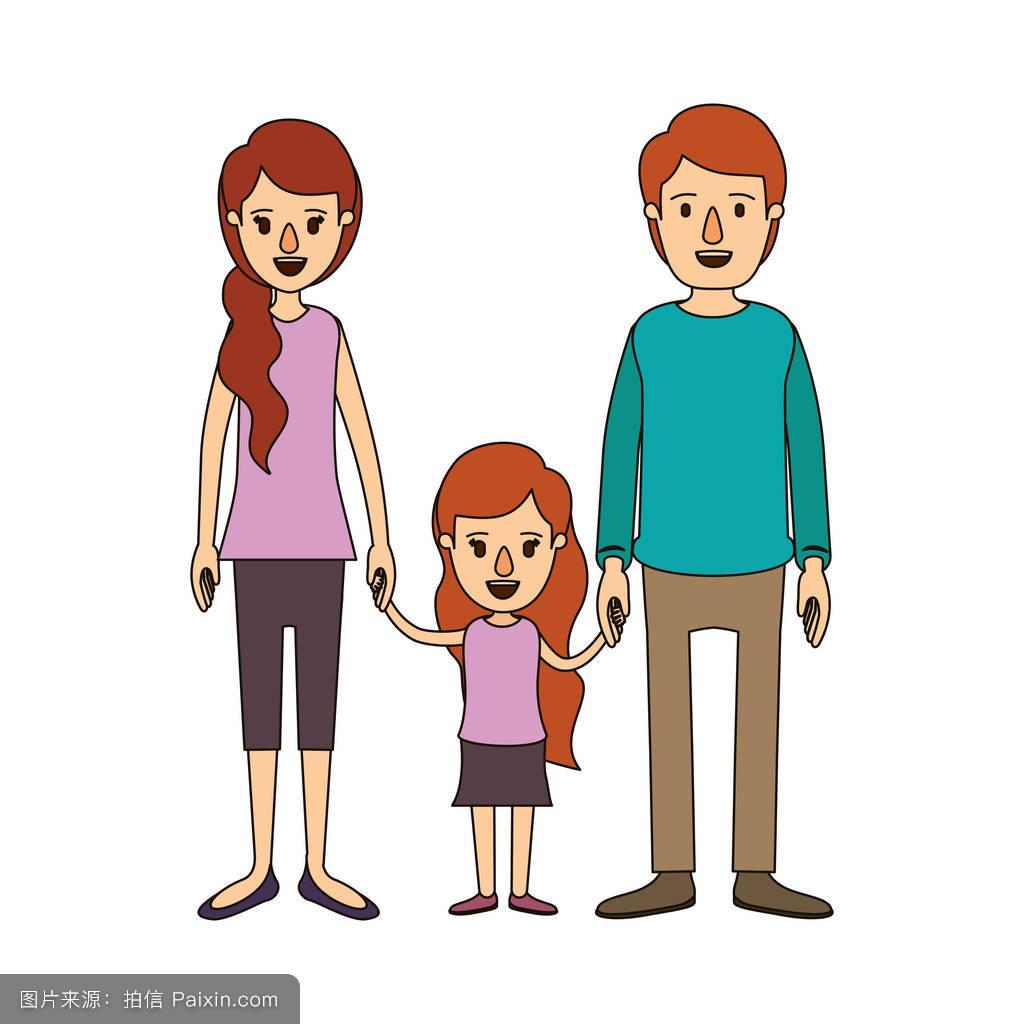 赵奕欢的爸爸妈妈_年轻的爸爸和妈妈与小女孩采取手侧马尾发彩色漫画的家庭