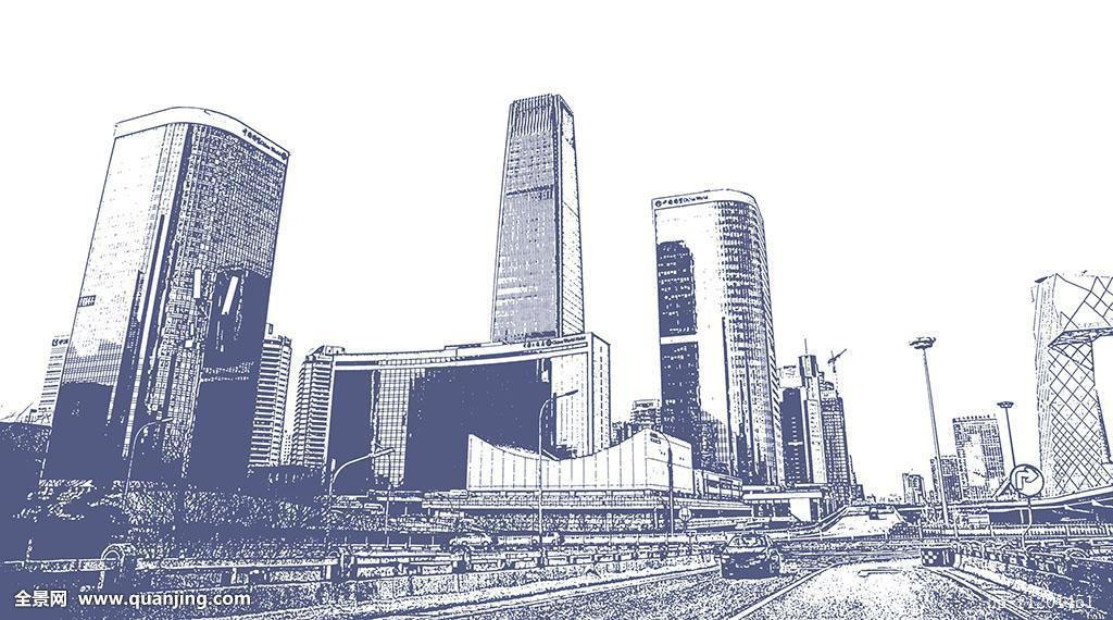 中国国际贸易中心建筑群铅笔画特效图片