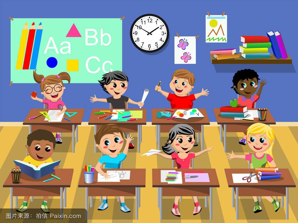 小学生自创现代�:)_卡通,内部,教室,现代的,室内的,玩,多元文化的,学生,时钟,小学生