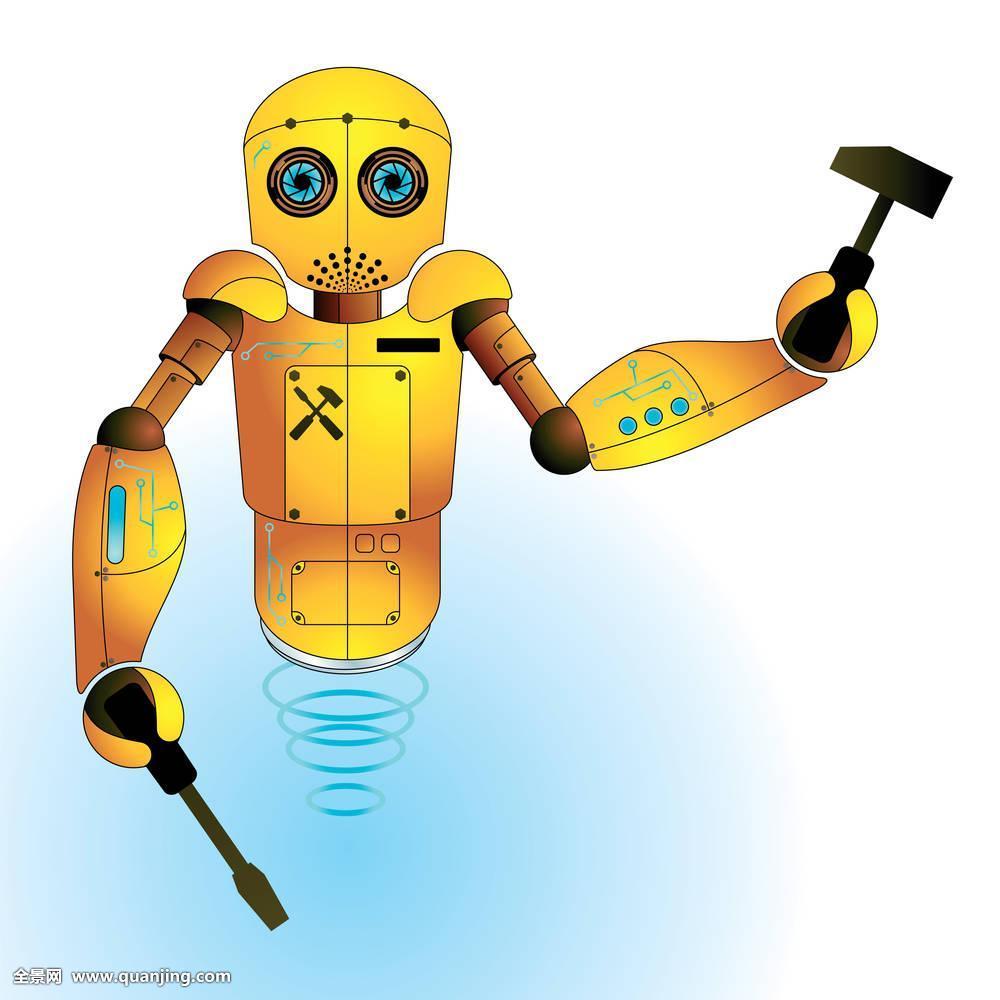 机器人简笔画彩色