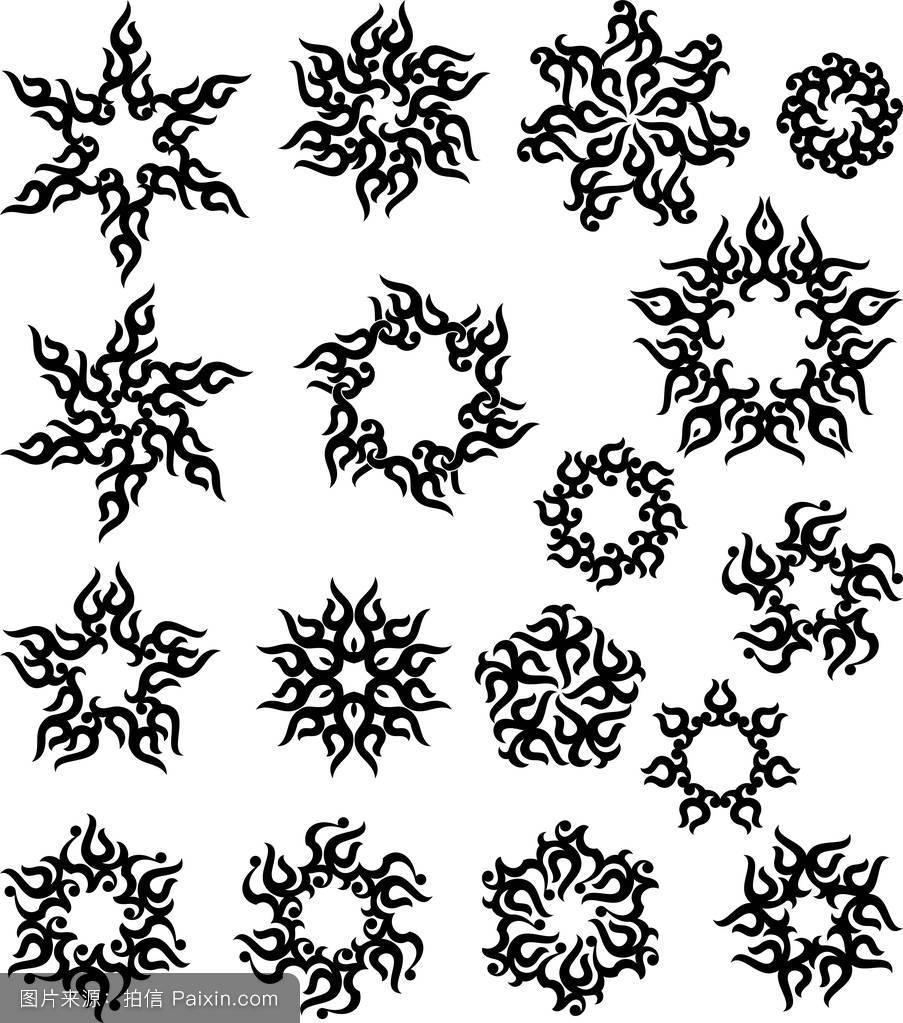 纹身太阳,火焰部落设计图片