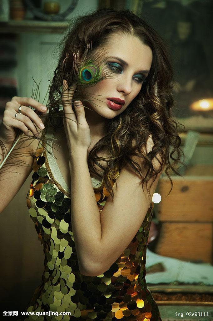金色,绿色,头发,手,健康,人,隔绝,女士,嘴唇,锁,看,模特,一个,孔雀图片