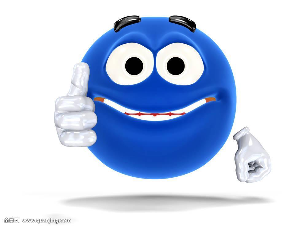 微笑,高兴,象征,脸,动画表情,情感,隔绝,背景,白色,赞成,蓝色,胜利图片